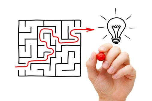 Illustrasjon som viser at man finner løsningen etter å ha gått igjennom labyrint